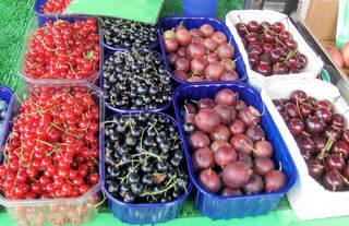 Verschiedene Obstsorten #2 - Johannisbeeren, rot, schwarz, Stachelbeeren Kirschen, Schale, Schälchen, Markt, Verkauf, Obst, Früchte