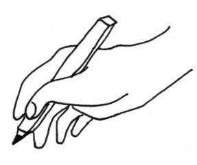 Hand mit Stift - Hand, Stift, schreiben, zeichnen, halten, Symbolkarte