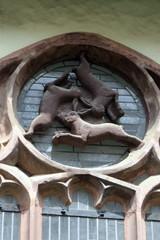 Dreihasenfenster - Fenster, Rosette, Hase, Symbol, Ohren, Paderborn, Dom, Kreuzgang, Sandstein, Mathematik