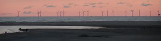 Windpark vor Borkum - Technisches Bauwerk, regenerative Energie, Windrad, Windpark, Energie, Energiegewinnung, Elektrizität, Kraftwerk, Windkraft, Rotor, Strom, erneuerbare Energie, Windkraftwerk, Physik