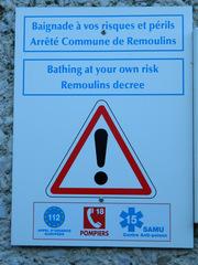 baignade interdite - Frankreich, Schild, panneau, baignade, interdiction, Badeverbot, appel d'urgence, Notrufnummern