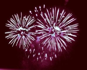 Feuerwerkseule - Feuerwerk, Nacht, Himmel, Lichter, Farben, leuchten, Feuerwerkskörper, pyrotechnische Gegenstände, koordinierte Zündung, Zündung, Silvester, Neujahr, Pyrotechnik, Rakete, Antrieb, Rückstoß, Licht, dunkel, hell, Eule, Kunst