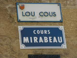 Cours Mirabeau - Frankreich, Schild, panneau, boulevard, rue, Straße, Aix-en-Provence, français, provençal