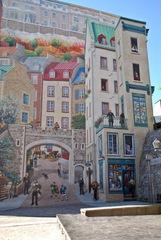 Fassadenmalerei in Quebec 1# - Quebec, Canada, Kanada, Wandmalerei, öffentlich, Hauswand, Häuserwand, Wand, Malerei, Kunst, Streetart
