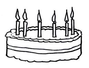 Torte  - Torte, Kerze, sechs, Geburtstag, feiern, Anlaut T