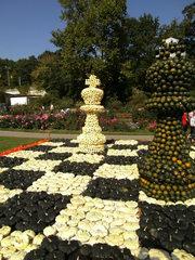 Kürbisdekoration #12 - Kürbis, Kürbisdekoration, Herbst, Schach, König, Dame, Gesellschaftsspiel