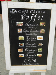 Buffet - Italien, buffet, cafè, antipasti, primi, secondi, Schild, Tafel