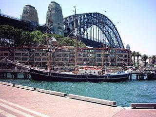 Harbour Bridge 2 - Australien, Sydney, Brücke, Schiff, Wasser, Perspektive