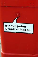 Mülleimer-Spruch 15 - Abfalleimer, Müll, Stadtreinigung, Abfallproblem, lustig, Witz, Sprachwitz, Slogan, Redensart, Werbung, Humor, Sprechblase, Werbesprache