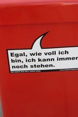 Mülleimer-Spruch 17 - Abfalleimer, Müll, Stadtreinigung, Abfallproblem, lustig, Witz, Sprachwitz, Slogan, Werbung, Humor, Sprechblase, Wortspiel, Werbesprache