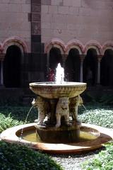 Löwenbrunnen in Maria Laach - Brunnen, Brunnenschale, Wassergewinnung, Zierbrunnen, Wasserzulauf, Wasserförderung, Laufbrunnen, Löwe, Löwenbrunnen, Kloster, Klosteranlage