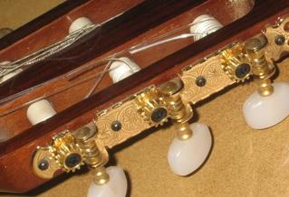 Gitarre #1 Detailfoto Wirbel - Instrumentenkunde, Zupfinstrumente, Gitarre, Wirbel, Saiten