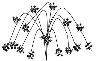 Feuerwerk #3 - Feuerwerk, Silvester, Rakete, Raketen, Licht, leuchten, Anlaut F, Sterne, Blitz, Zeichnung, Illustration