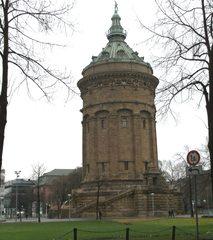 Wasserturm in Mannheim - Wasserturm, Turm, Rundturm, Wahrzeichen, Kulturdenkmal, Tritonenbrunnen, Bauwerk des Historismus, Gustav Halmhuber