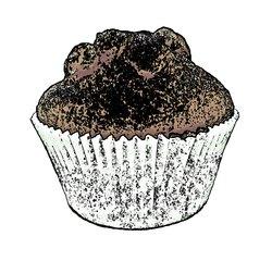 Muffin aus Schokoteig - Cartoon - Muffin, Muffins, Kuchen, Gebäck, backen, Bäcker, Leckerei, süß, Süßigkeit, Schokolade, Kakao, klein, Küchlein, rund, essen, feiern