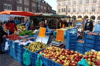 Bauernmarkt - Bocholt, Rathaus, Bauernmarkt, Obst, Gemüse, verkaufen, Preisschild, auszeichnen, Markthändler, Markthändlerin, Käufer, Käuferin, Kunde, Kundin, kaufen, aussuchen, auswählen, Äpfel, Birnen, Tomaten, Salat
