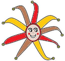 Harlekin farbig - Harlekin, Fasching, Fastnacht, Karneval, verkleiden, Spaß, Narr, Kostüm, Zeichnung, Illustration