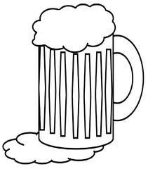 Glas Bier s/w - Glas, Bier, Maß, Humpen, Seidel, trinken, Schaum, Getränk, Alkohol, Zeichnung, Durst, Illustration