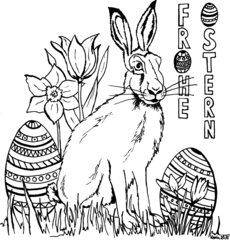 Ausmalbild zu Ostern - Osterhase, Ostereier, Frohe Ostern, Tulpe, Narzisse, Krokus