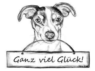 Ganz viel Glück! - Jack Russell Terrier, Hund, Haustier, Wünsche, Ganz viel Glück