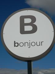 B comme Bonjour - Frankreich, civilisation, B, Bonjour, panneau, Schild, parking, Parkplatz, rund