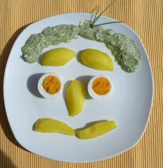 Gesicht - Gesicht, Tellergesicht, Tellergericht, Frankfurter Grüne Soße, Spezialität