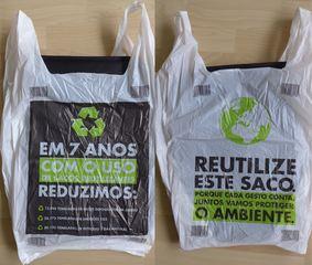 Plastikbeutel - aus Portugal - saco, ambiente, reduzir, proteger, gesto, Umwelt, Umweltschutz, recycling, Wiederverwertung