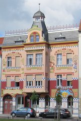 Wittenberge, Hotel Vier Jahreszeiten - Jugendstil, Wohnhaus, Hotel, Blumendekor