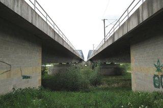 Eisenbahnbrücke über die Elbe nördlich von Tangermünde #3 - Eisenbahn, Brücke, Fluchtpunkt, Perspektive