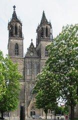 Magdeburger Dom - Westseite - Dom, Kirche, Magdeburg, Turm, Kirchturm, Romanik, romanisch, gotisch
