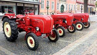 Traktor - Oldtimer - Traktor, Trecker, Porsche, drei, Zugmaschine, Fahrzeug, rot, Oldtimer, Landwirtschaft