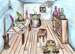 Die gute Stube eines Zauberers - Zimmer, Raum, Zauberer Utensilien, Märchen, Magie, Schreibanlass, Erzählanlass