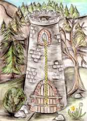 Rapunzels Turm - Turm, Zopf, Rapunzel, Märchen, Schreibanlass, Erzählanlass