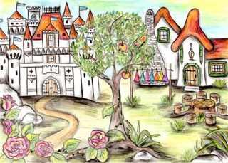 Märchenschloss und Zwergenhaus - Märchen, Schloss, Haus, Dornröschen, Rosenranke, sieben, Zwerge, Zipfelmützen, Apfel, Apfelbaum