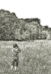 Naturbeobachtung #2 sw - Wiese, Sommer, sehen, beobachten, schauen, Natur, Naturbeobachtung, Sachunterricht, Forscher, forschen, erforschen, Kind, klein, neugierig, wissbegierig, Wissenserwerb