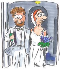Brautpaar - Hochzeit, Vermählung, Braut, Bräutigam, Eheschließung, Ehe, Zeremonie, Kirche, kirchlich, Heirat, heiraten, Fest, Brautstrauß, weiß, ganz in weiß, Standesamt, Ehemann, Ehefrau
