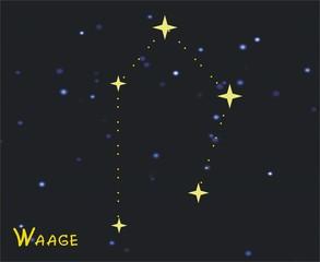 Sternbild Waage (Libra) -  Tierkreiszeichen Waage: - Astronomie, Astrologie, Himmel, Sterne, Sternzeichen, Tierkreiszeichen, Nacht, Sternbilder, Waage.