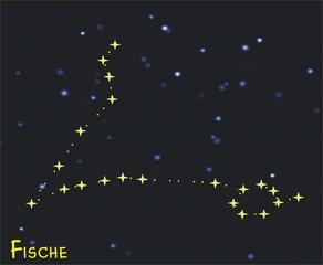 Sternbild Fische (Pisces) - Tierkreiszeichen Fische - Astronomie, Astrologie, Himmel, Sterne, Sternzeichen, Tierkreiszeichen, Nacht, Sternbilder, Fisch, Fische.