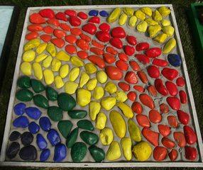 Kunst mit Steinen #3 - Steine, bemalt, Bogen, Regenbogen