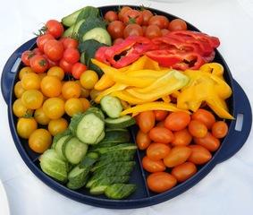 Gemüseteller - Gemüse, Gemüseteller, Tomaten, Paprika, Gurke, Bruchrechnen, Brüche, Mathematik, Sechstel