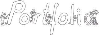 Portfolio - Portfolio, Schriftszug, Überschrift, Deckblatt, Zeichnung, Portfolioarbeit, Ausmalbild, ausmalen, Vorschlag, Gestaltungsvorschlag, Inspiration