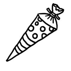 Schultüte sw - Schultüte, Schulanfang, Zuckertüte, Einschulung, Erstklässler, Anlaut Sch, Anlaut Z