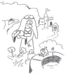 Froschkönig - Märchen, Frosch, König, Froschkönig, Grimm, Gebrüder, Illustration, Ausmalen, Ausmalbild, Cartoon, Comic, Kugel, gold, golden, goldene, gülden, güldene, Schloß, Prinzessin, Brunnen