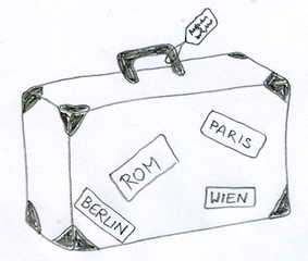 Koffer - Reisen, Koffer, Gepäck, Anlaut K, Reise, verreisen, Wörter mit Doppelkonsonanten