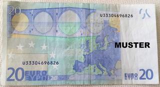20 Euroschein - Geld, Münzen, Münze, Scheine, Schein, Geldschein, Zahlen, bezahlen, Euro, Summe, Wechselgeld, wechseln, Währung, Daf