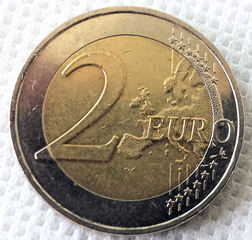 2 Euro - Geld, Münzen, Münze, Scheine, Schein, Geldschein, Zahlen, bezahlen, Euro, Summe, Wechselgeld, wechseln, Währung, Daf