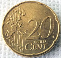 20 Cent - Geld, Münzen, Münze, Scheine, Schein, Geldschein, Zahlen, bezahlen, Euro, Summe, Wechselgeld, wechseln, Währung, Daf