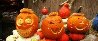 Kürbisgeister - Kürbis, Halloween, Fratze, Gesicht, Herbst, Jahreszeit, Kürbisgeist, Kürbislicht