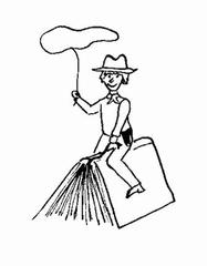 Büchercowboy - Buch, Bücher, Cowboy, reiten, Lasso, Leseförderung, lesen, Illustration, Lesepass, reiten, Wörter mit ei
