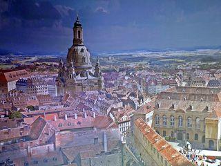 Ausschnitt Asisi Panorama - Dresden im Barock - Ausstellung, prunkvoll, prächtig, Asisi, Kunst, Geschichte, Epoche, Barock, barockes Leben, Elbe, Dresden, Fotokunst